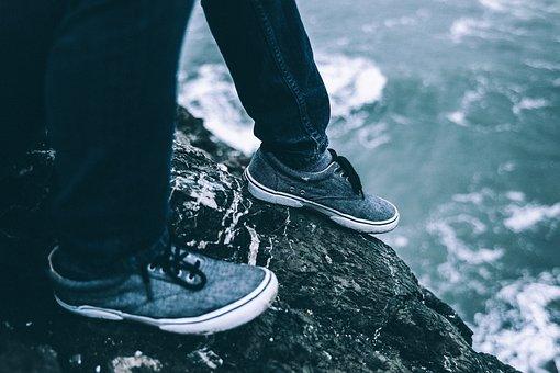 People, Man, Shoes, Sole, Water, Ocean, Sea, Beach