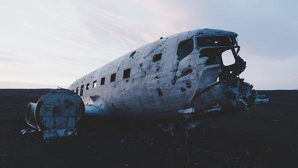 Airplane, Plane, Old, Wreck, Damage, Broken, Trash, Sky