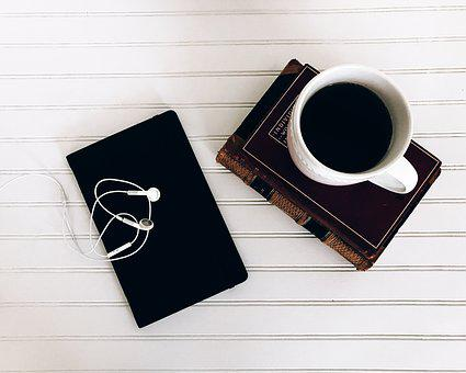 Books, Ear Buds, From Above, Lifestyle, Hot Tea, Coffee