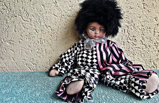 Doll, Clown, Harlequin, Sadness, Tear, Face, Pajacyk