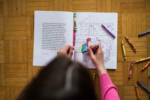 Girl, Kid, Coloring, Colors, Art, Crayons, Paper
