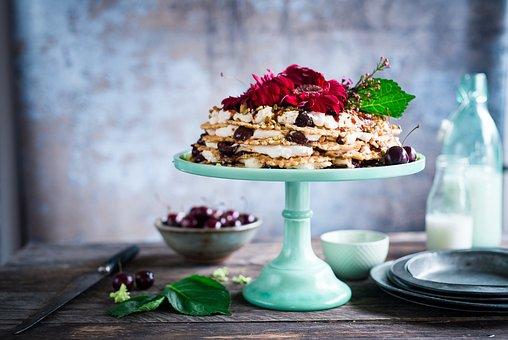 Cake, Dessert, Fruits, Peanuts, Cream, Pie