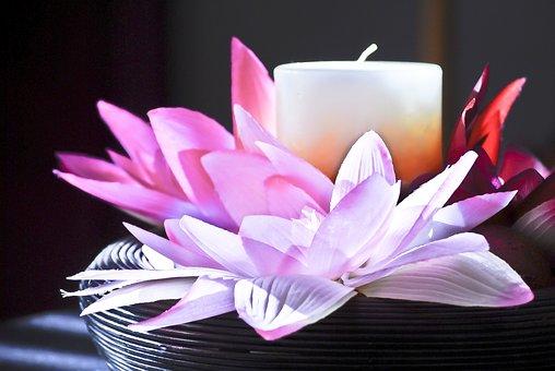 Candle, Flower, Petals, Lavender, Wick, Decoration