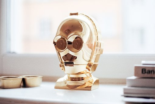 Robot, Gold, Decoration, Art, Table, House, Home