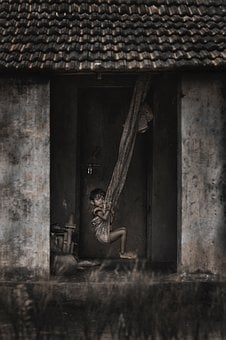 People, Kid, Child, Poverty, Poor, Hammock, House, Home
