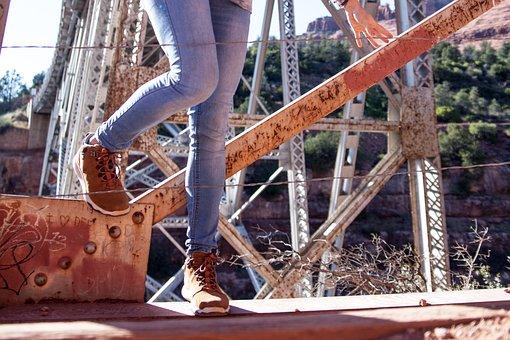 People, Woman, Lady, Fence, Steel, Bridge, Rust, Vandal