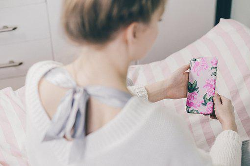 People, Woman, Iphone, Apple, Case, Bed, Sheets
