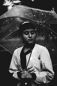 People, Woman, Sassy, Umbrella, Beauty, Black And White