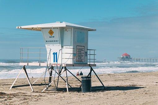 Lifeguard, Beach, Coast, Sand, Water, People, Couple