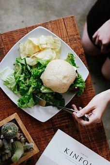 Table, Wood, Plate, Vegetable, Vegetarian, Bread, Green