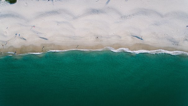 Sea, Ocean, Beach, Summer, Aerial, People, Vacation