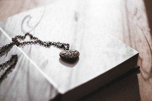 Heart, Necklace, Old, Steel, Book, Cover, Pages, Sheet