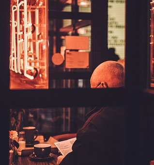 People, Man, Old, Back, Cup, Coffee, Cafe, Restaurant