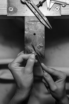 People, Hands, Repair, Black And White, Monochrome