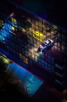 Urban, City, Dark, Night, Aerial, Car, Vehicle