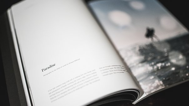 Book, Letters, Bokeh, Blur, Black And White, Page