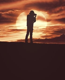 People, Man, Back, Camera, Recording, Picture, Moon