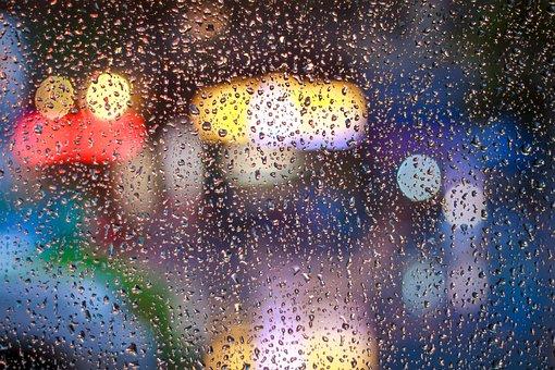 Rain, Drops, Wet, Glass