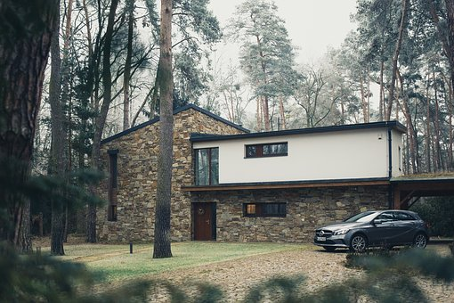 Car, Vehicle, House, Park, Trees, Grass, Bricks