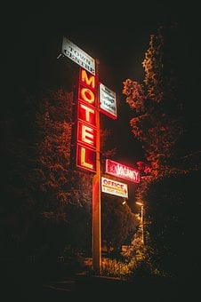 Trees, Post, Motel, Signage, Lights, Dark, Night, Grass