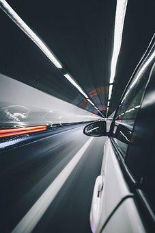 Car, Vehicle, Transportation, Road, Tunnel, Fast, Bulb