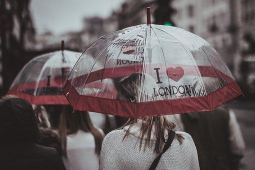 People, Woman, Rain, Umbrella, Weather, Urban, City