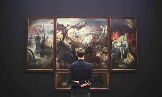 People, Man, Art, Museum, Paint, Frame, Wall, Analyze