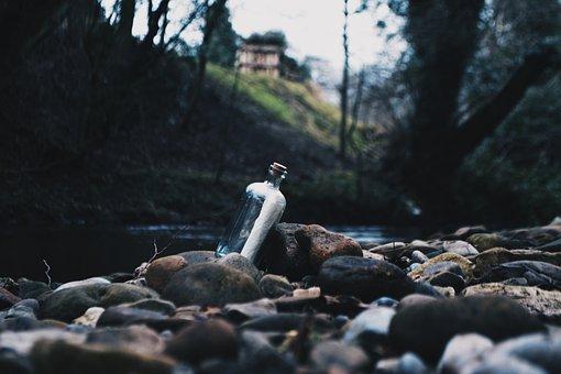 Bottle, Letter, Sea, River, Lake, Water, Ocean, Rocks