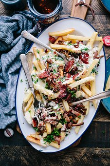 French Fries, Plate, Toppings, Spoon, Fork, Meat, Bacon