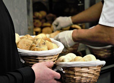 Bread, Pastry, Bake, Shop, Basket, Hand, Gloves, Baker