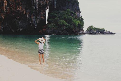 People, Woman, Hat, Ocean, Sea, Beach, Sand, Water
