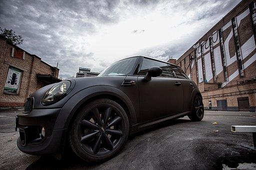 Car, Mini Cooper, Classy, Black, Matte, Mags, Clouds