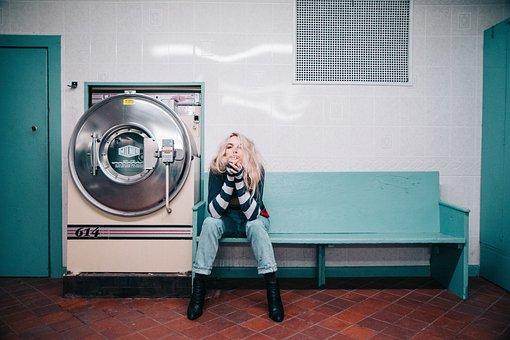 People, Woman, Sit, Laundry, Machine, Shop, Denim, Blue