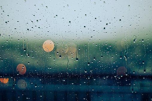 Rain, Drops, Wet, Glass, Lights, Bokeh