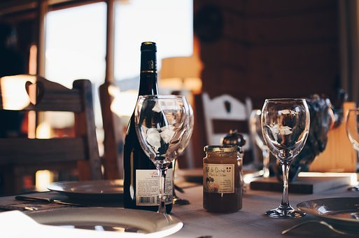 Wine, Glass, Liqour, Bottle, Plates, Restaurant, Bar
