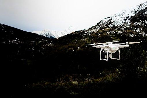 Drone, Camera, Clouds, Sky, Video, Record, White