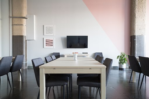 Interior, Design, Tables, Chairs, White, Wall, Floor