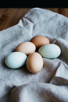Eggs, Cloth, Wooden, Table, Food, Brown, White, Still