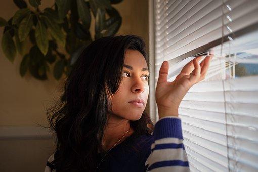 Woman, Girl, Lady, Alone, Window, Blindfold, Plant