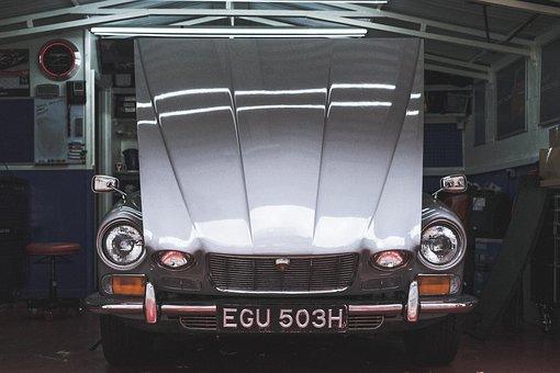 Car, Garage, Vintage, Light, Headlight, Bumper, Old