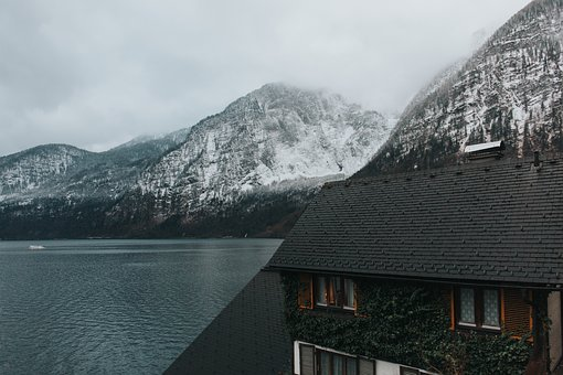 Mountains, Nature, Snow, Lake, Water, House, Clouds