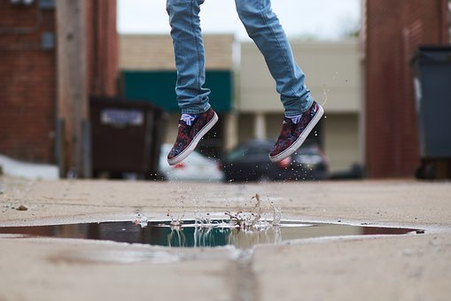 Feet, Shoes, Jump, Shot, Water, Street, Jeans, Style