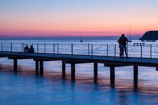 Bridge, People, Couple, Love, Man, Woman, Sunset, Water