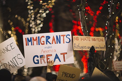 Posters, People, Rally, Protest, Immigrants, Us