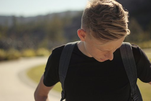People, Man, Freckles, Blonde, Hair, Back Pack, Road