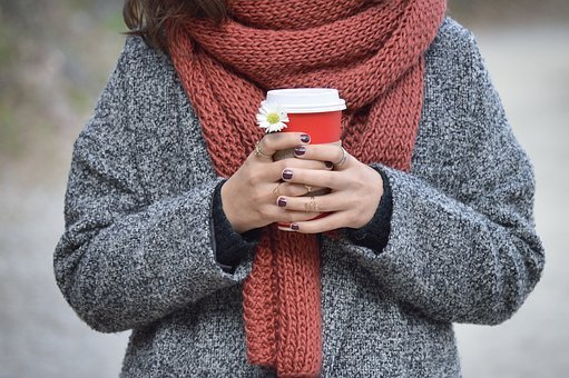 People, Woman, Coffee, Cold, Weather, Sweater, Scarf