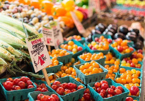 Cherry, Tomatoes, Fruits, Corn, Market, Sell, Sign