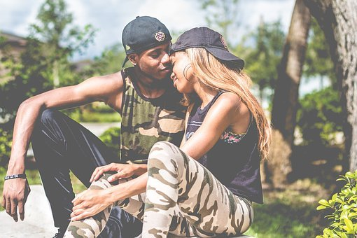 Sweet, Couple, Love, Cap, Man, Woman, Street, Outdoor