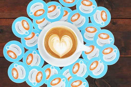 Heart, Art, Coffee, Cup, Fashion, Wooden, Table, Plate