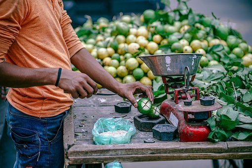 People, Man, Market, Vendor, Fruits, Green